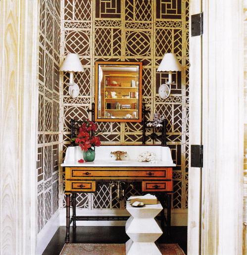 Brown antique sink truly unique bathroom wallpaper in bathroom 499x515