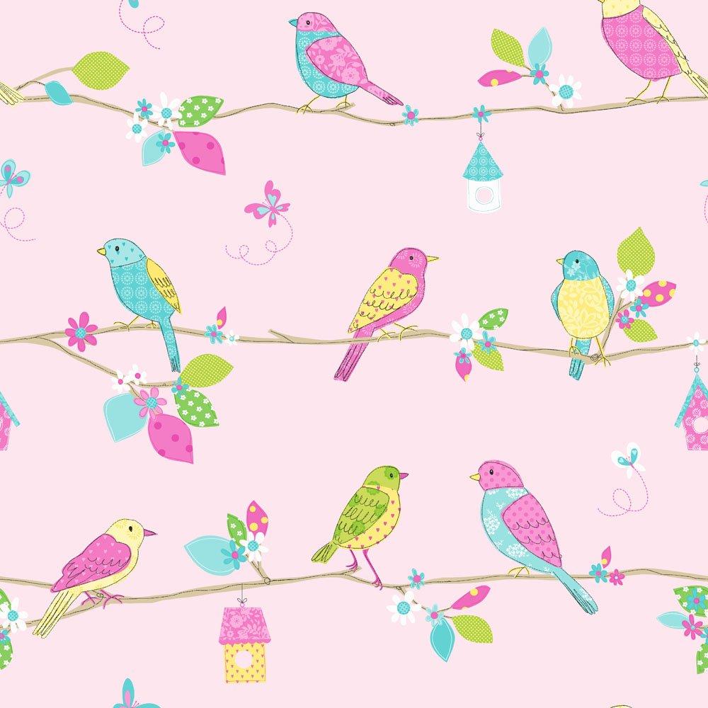 Girls Twin Bedroom With Bird Wallpaper: Children's Wallpaper For Girls