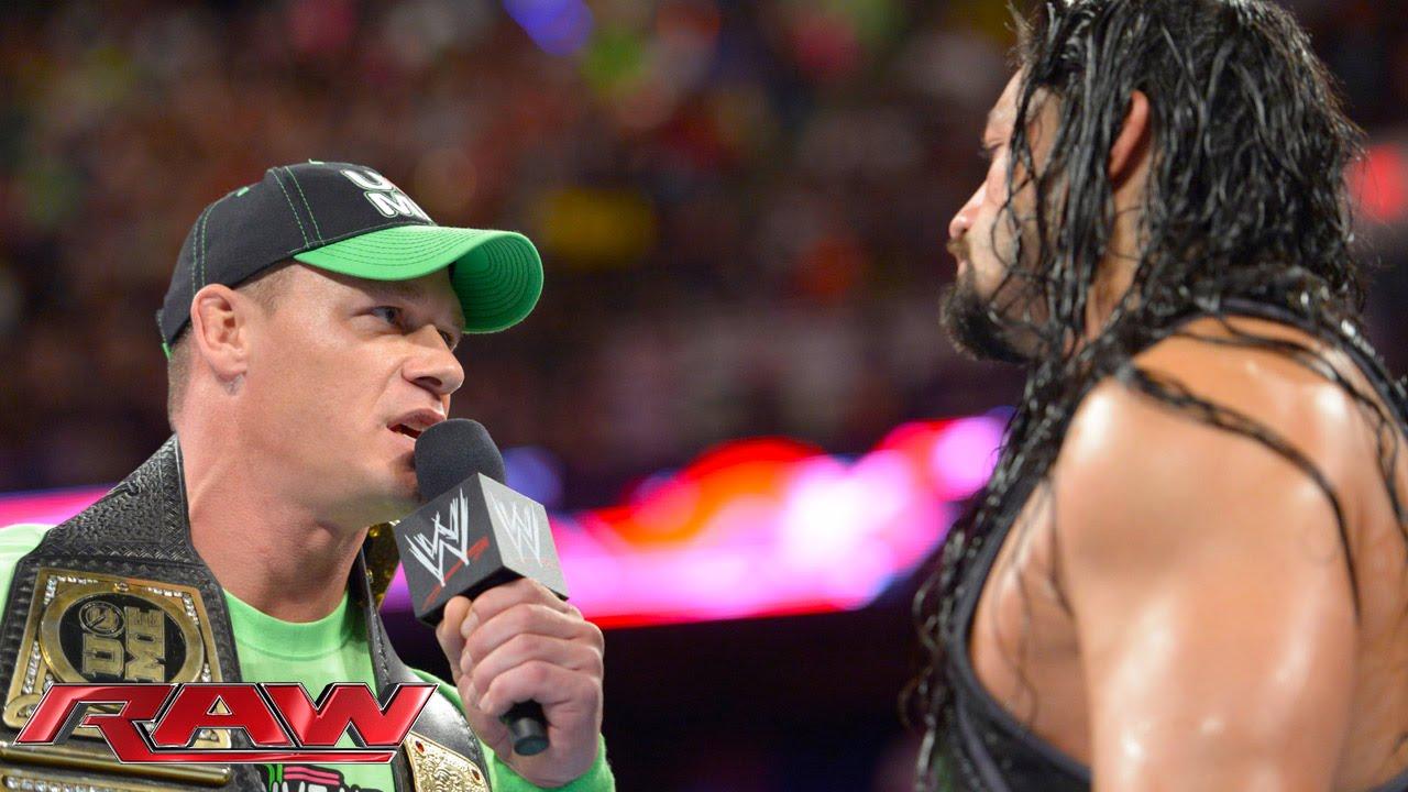 John Cena confronts Roman Reigns Raw July 14 2014 1280x720