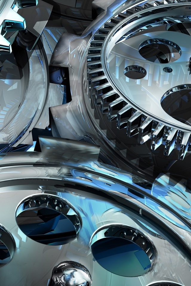 hd 3d cool wheel gear iphone 4 wallpapers backgrounds 640x960