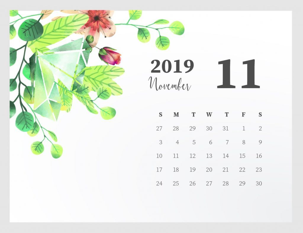 Cute November 2019 Calendar Printable planners November 1024x788