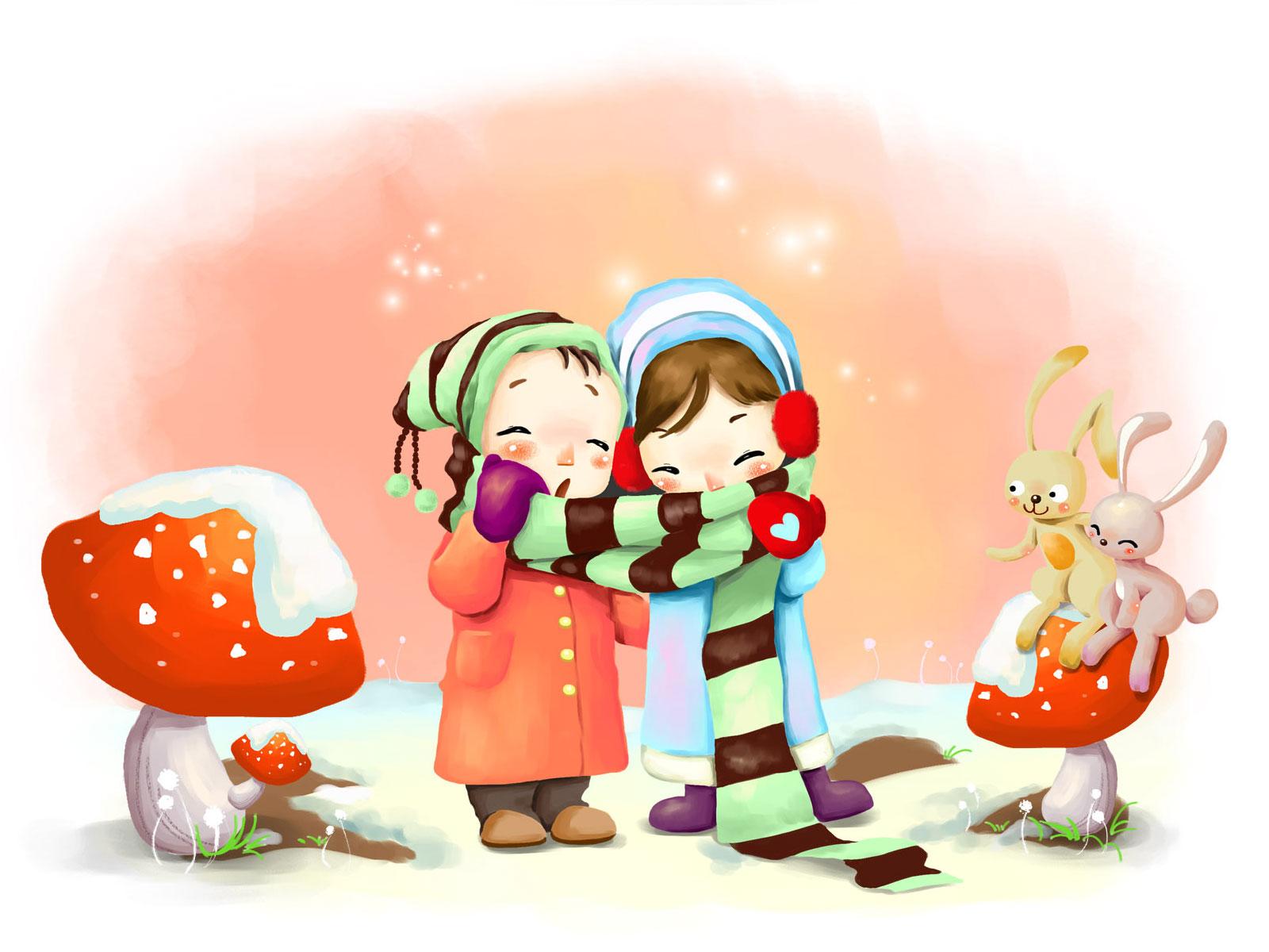 Cute Cartoon Animal Wallpapers Valentines cute cartoon 1600x1200