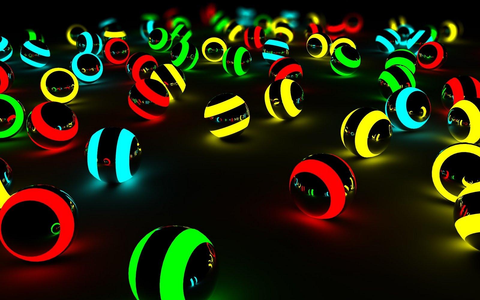 Free Download 3d Balls Glow Colors Dark Hd Wallpapers Epic