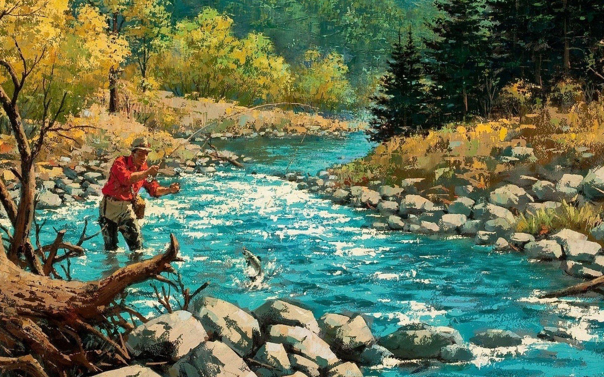 Fishing Stream Wallpaper - WallpaperSafari
