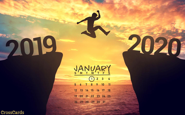 January 2020   Jump into the New Year Desktop Calendar 1440x900