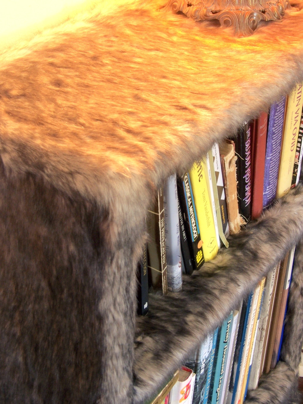 faux fur bookshelf by modern art design 225x300 1 furry faux fur 1024x1365