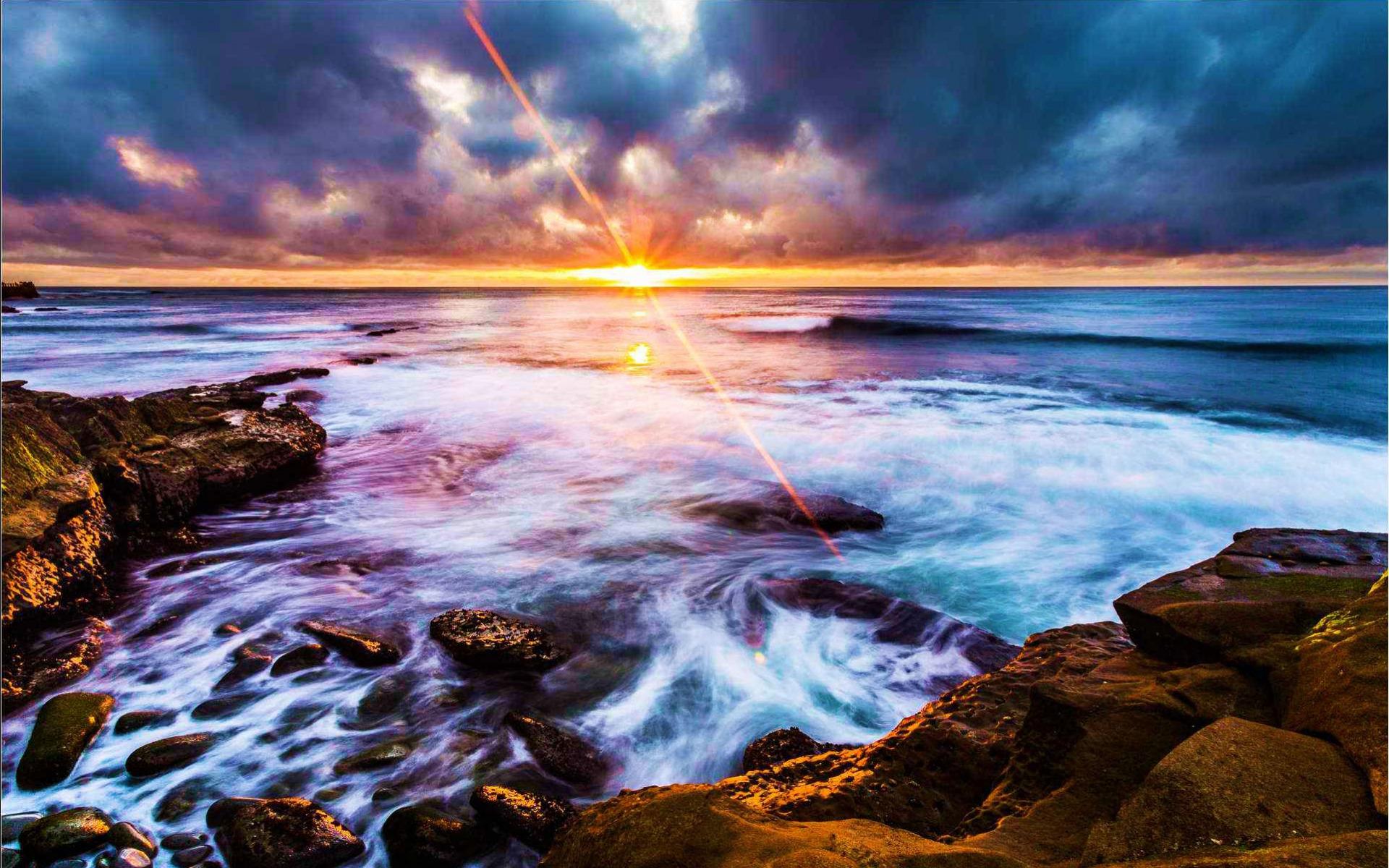 Gambar Wallpaper La Jolla Coastline Matahari Terbit dan Terbenam 1920x1200