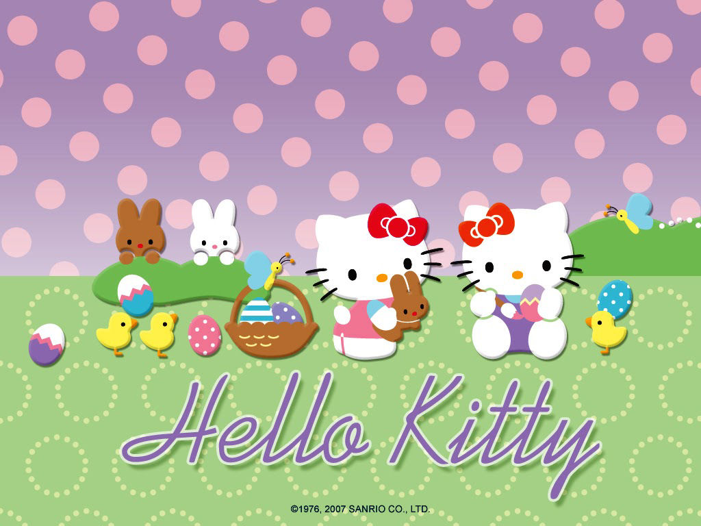 Hello Kitty cute Easter bunny desktop wallpaper background 1024x768 1024x768