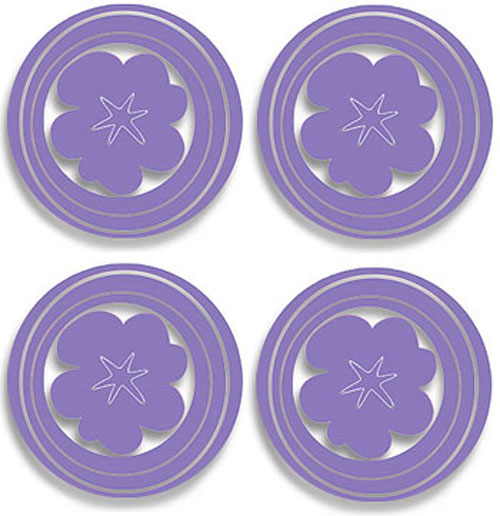 Hoopla Purple Flower and Circles   Peel and Stick   4pc Wall Stickers 500x516