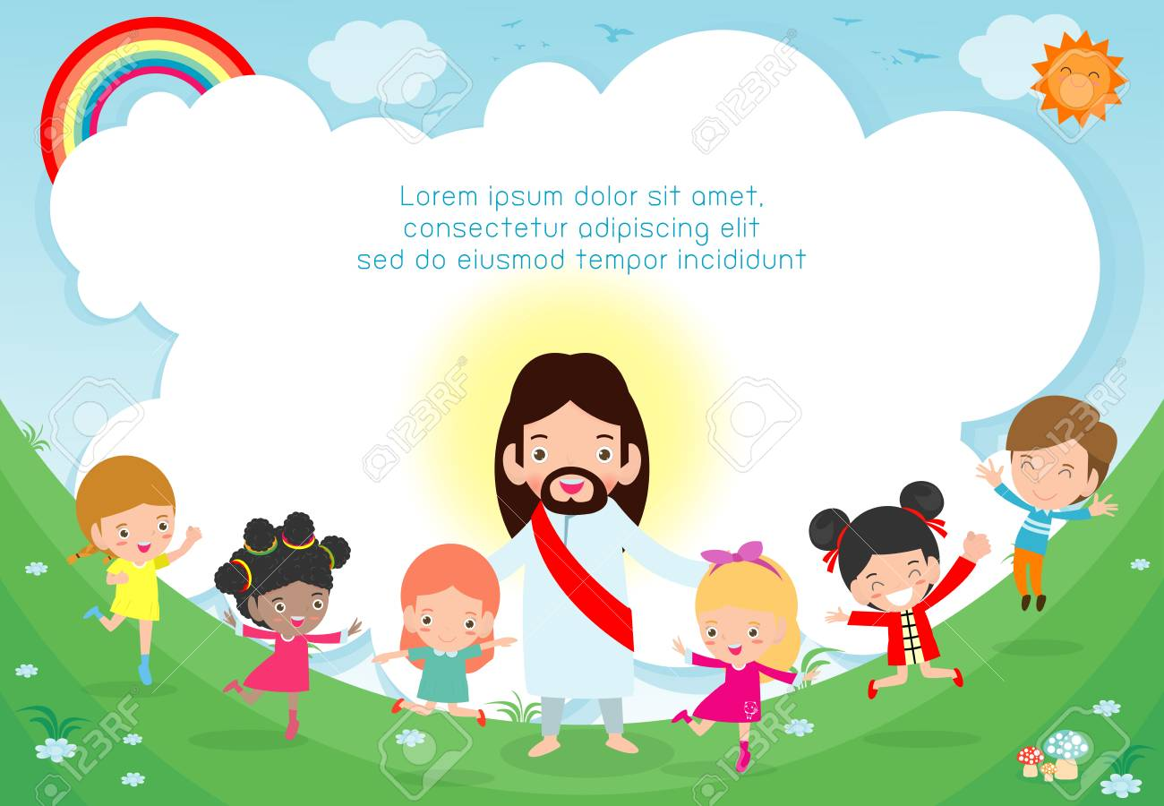 Jesus Christ And Group Of Happy Children Multicultural Kids 1300x900