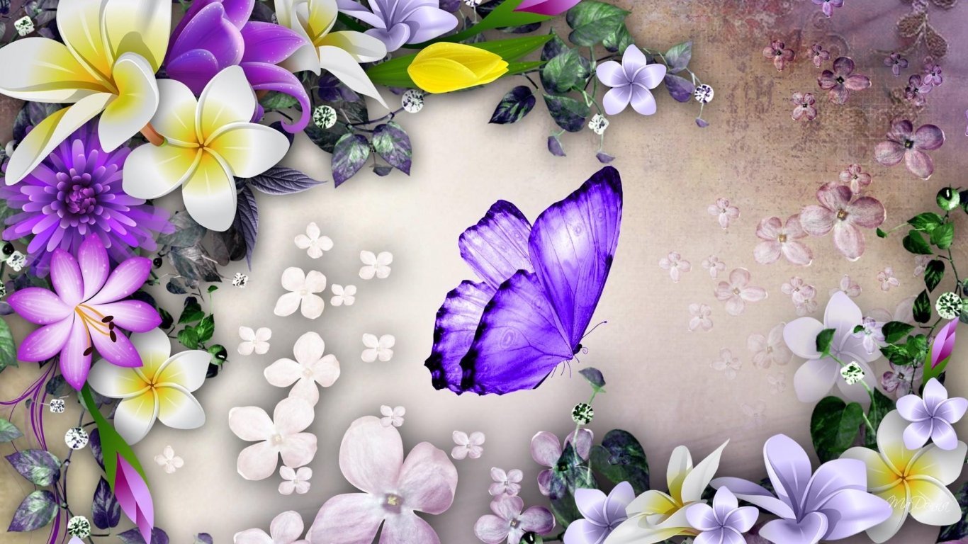Purple butterfly and flowers collage wallpaper in Other wallpapers 1366x768