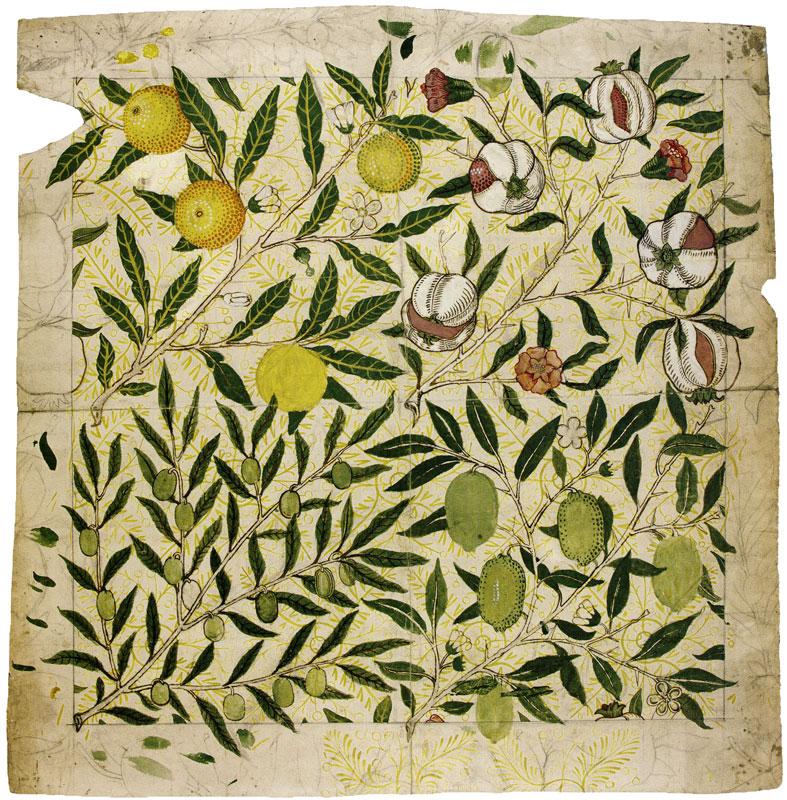 William Morris   Design for FruitPomegranate wallpaper 787x800