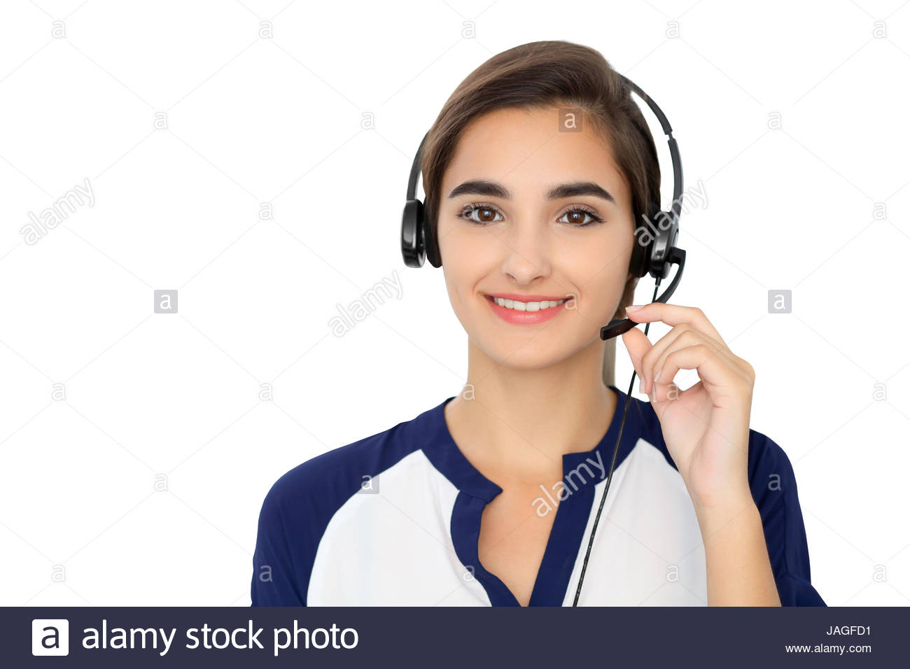 Call center operator isolated over white background Young 1300x956