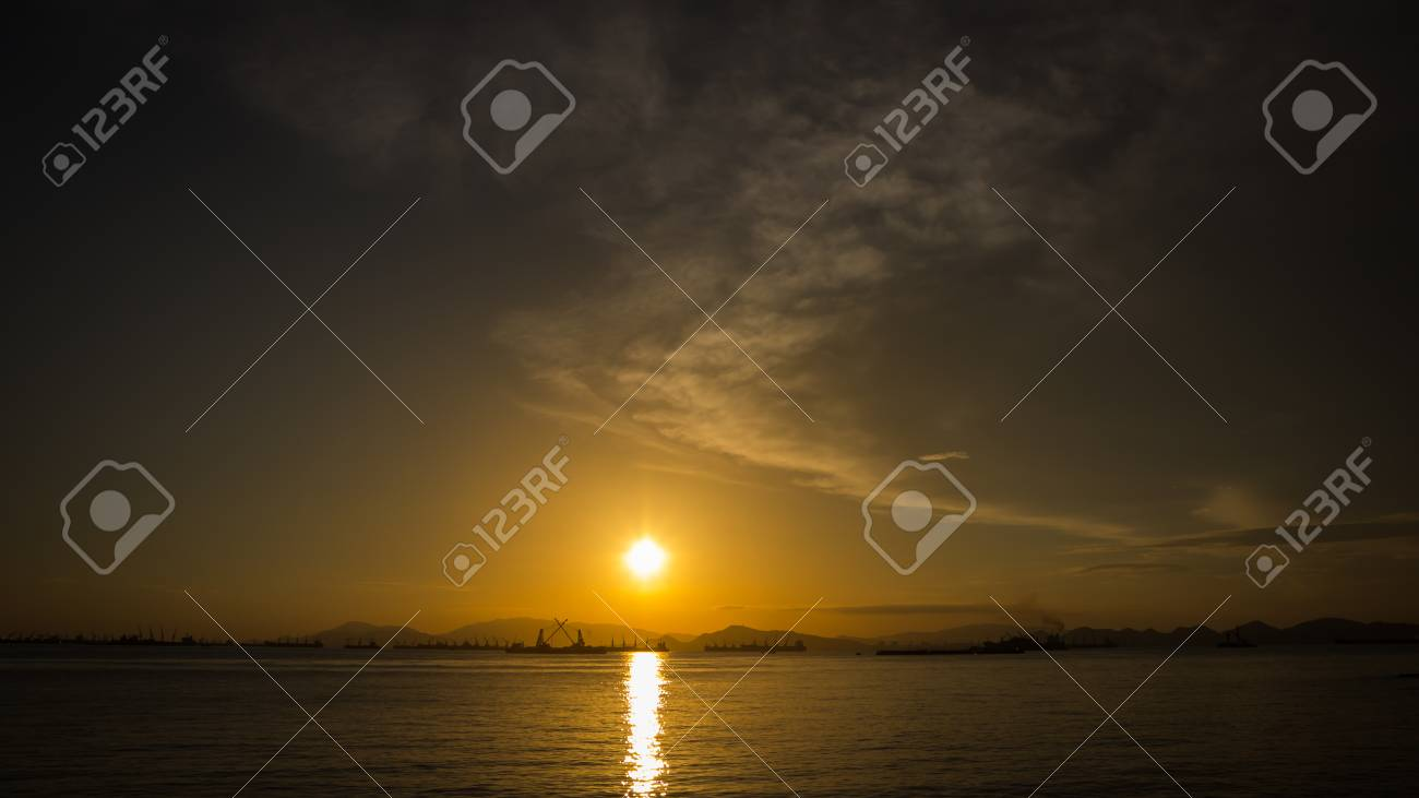 Silhouette Of Fishing Boat And Sunset With Koh Sichang And 1300x731