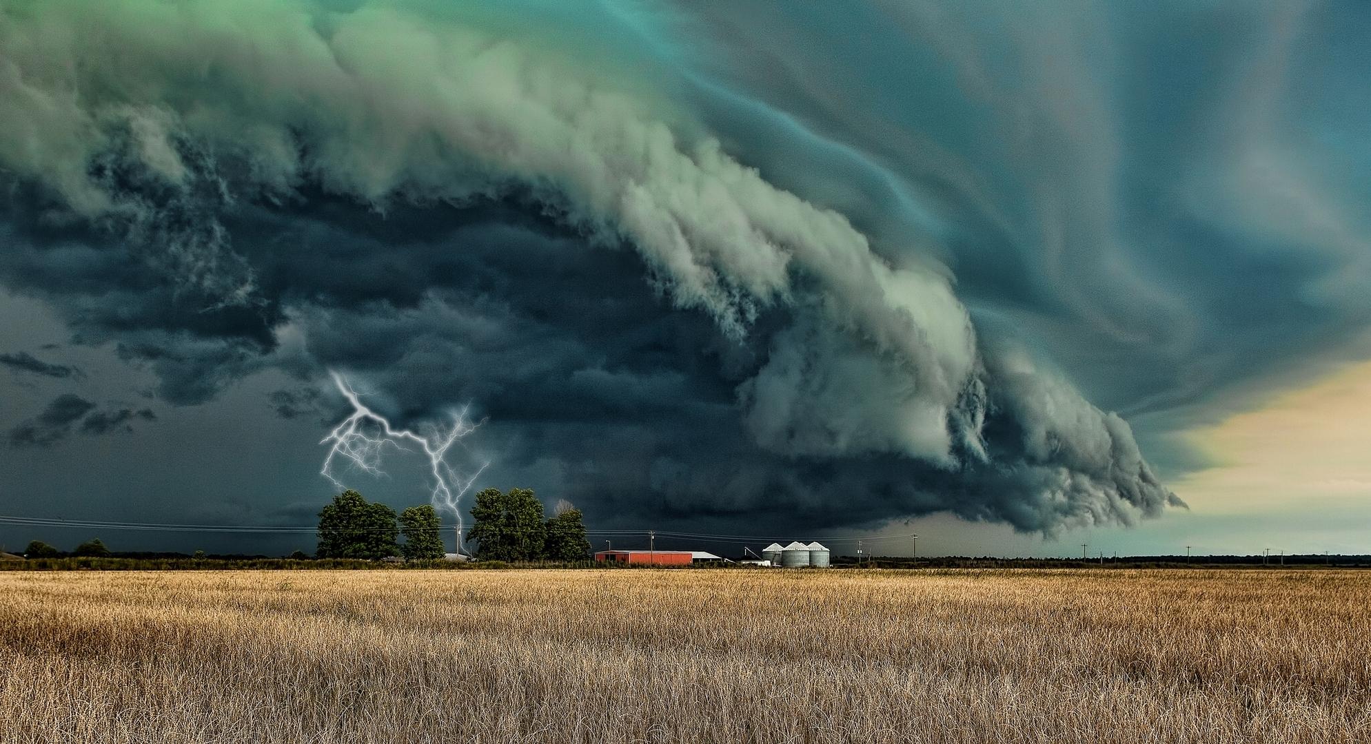 rain lightning farms farmland fields skies clouds wallpaper background 1989x1080