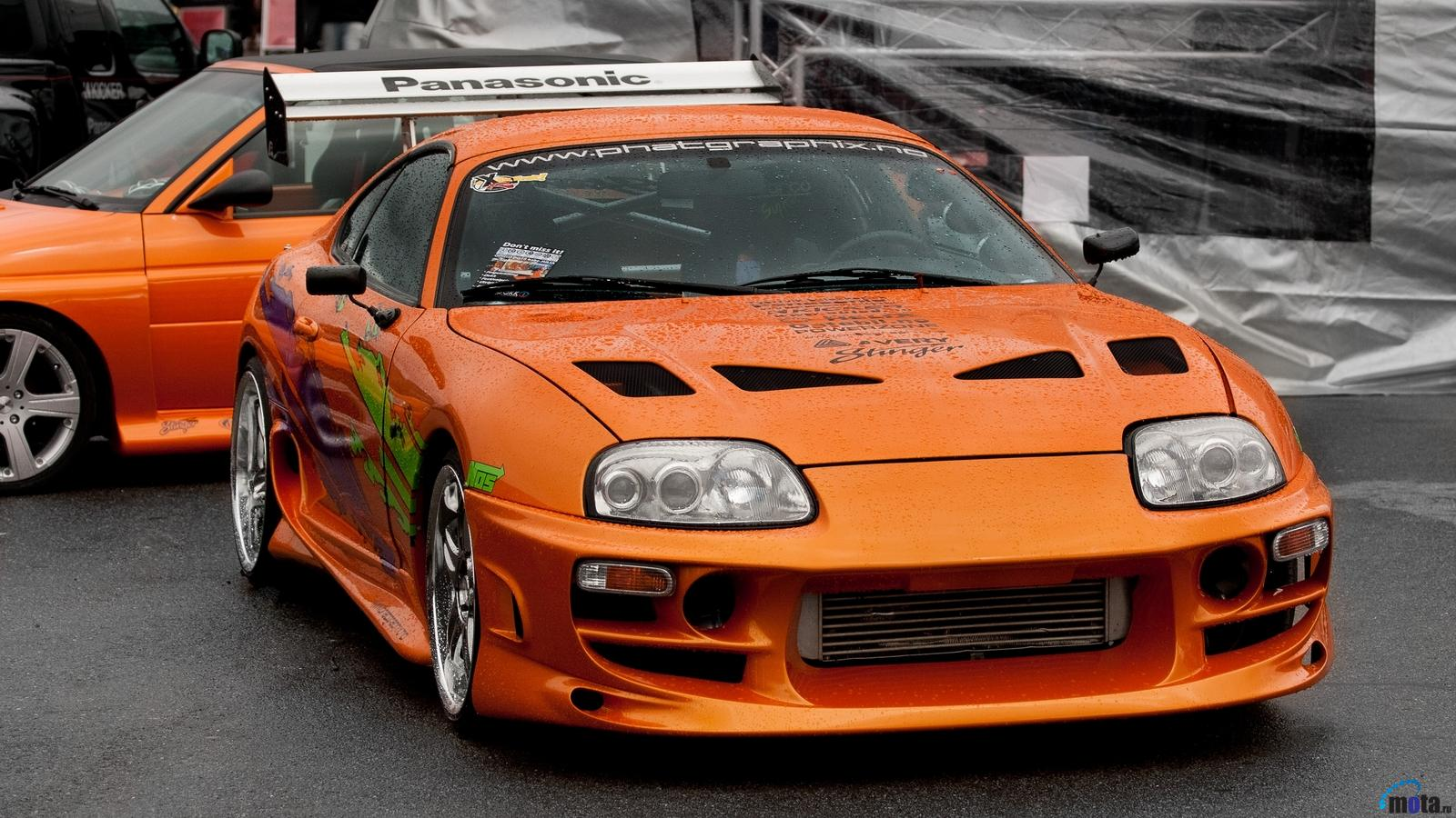 Wallpaper Toyota Supra after rain 1600 x 900 widescreen Desktop 1600x900
