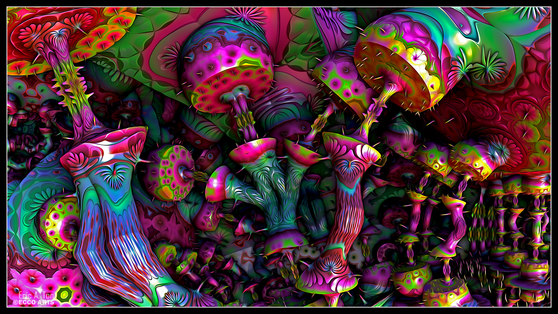 psychedelic mushrooms by eccoarts digital art fractal art fractal 1920x1080