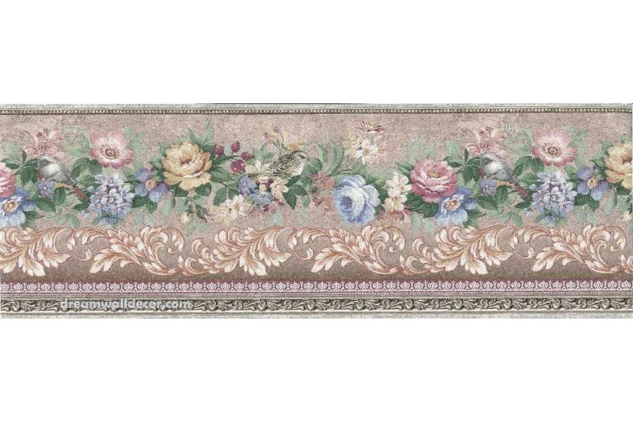 Pink Blue Flower Wallpaper Border 900x600