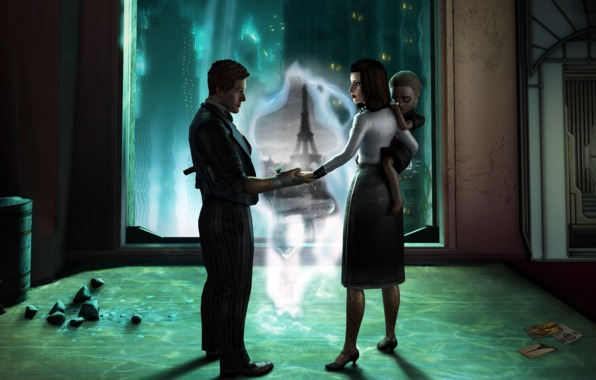 Wallpaper bioshock infinite dlc rapture elizabeth booker dewitt 596x380