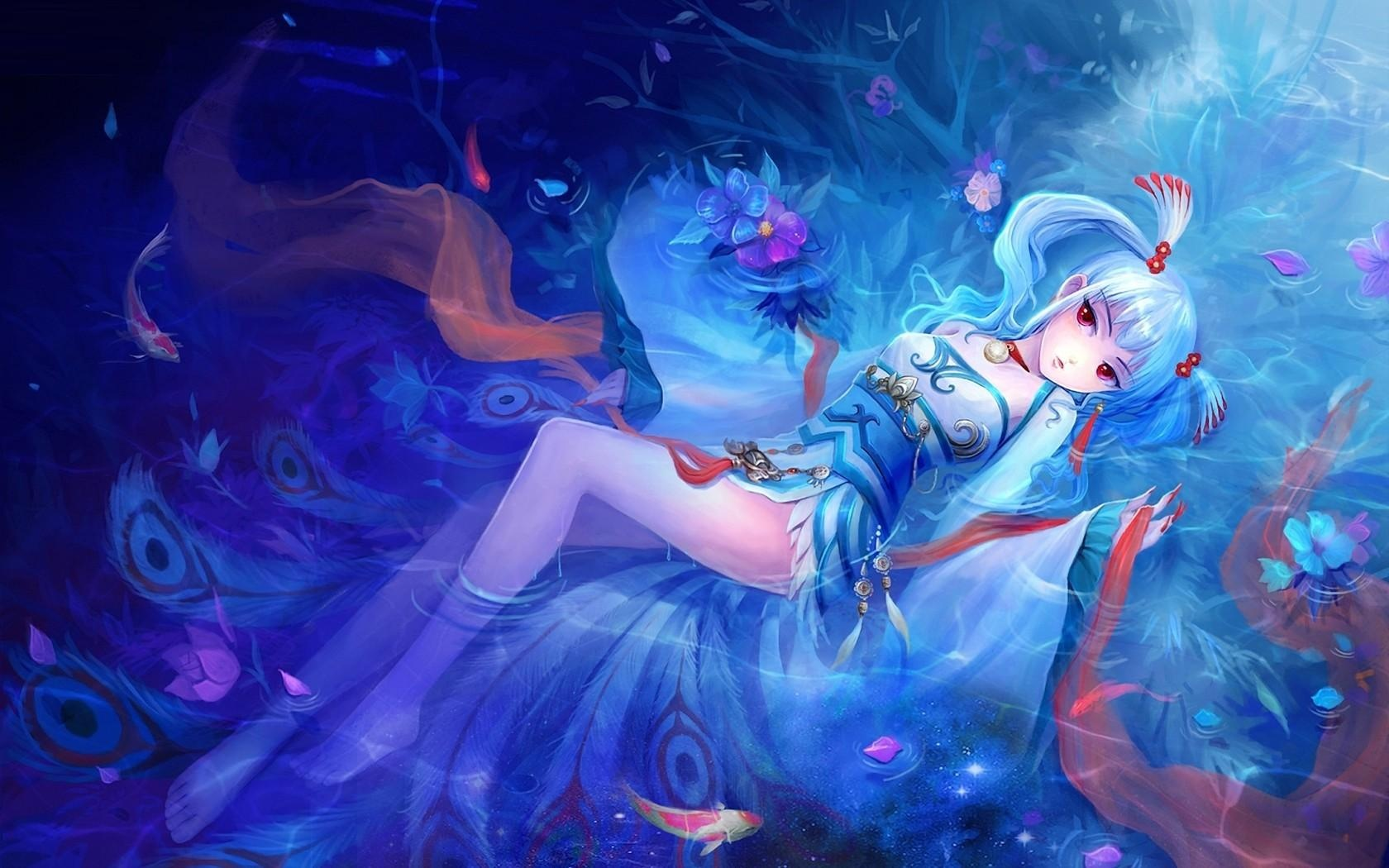 Water In Laying Anime Girl Wallpapers   1680x1050   349121 1680x1050
