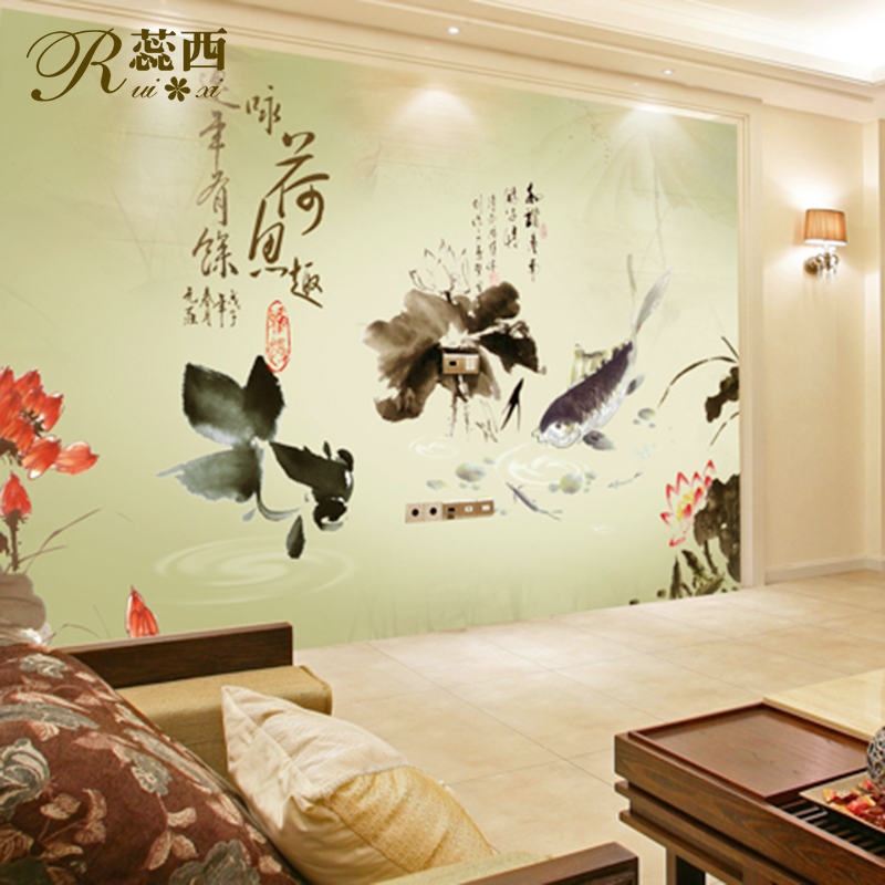 wallpaper ink traditional Chinese painting mural non woven wallpaper 800x800