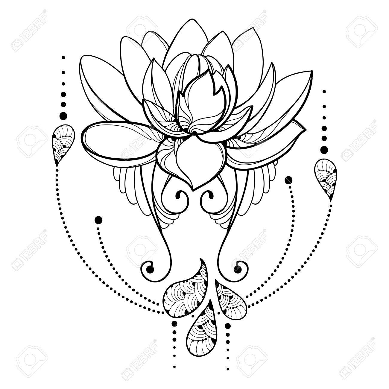 Drawing With Outline Lotus Flower Decorative Lace And Swirls 1300x1300