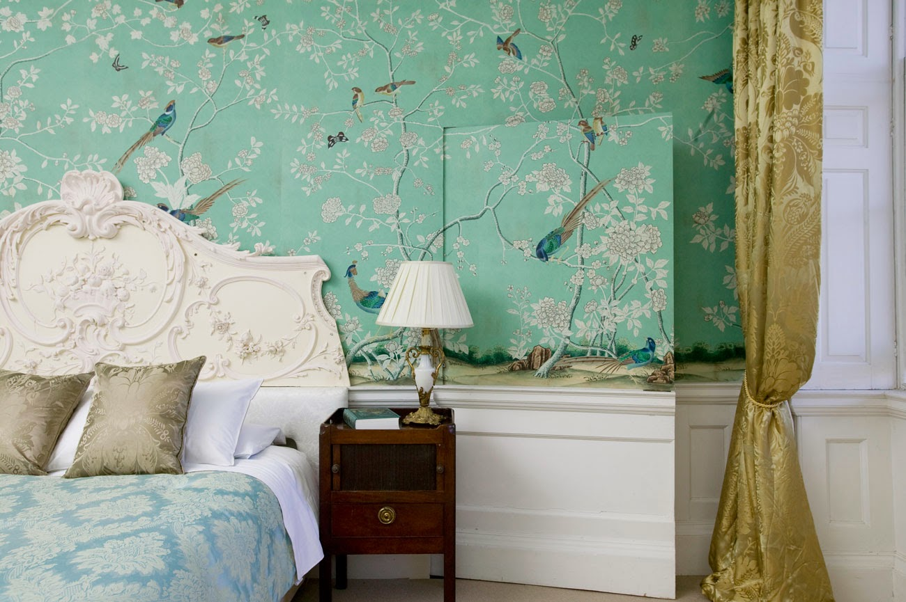 Peonies and Orange Blossoms Chic Chinoiserie Wallpapers 1300x865
