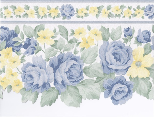 Blue Yellow White Roses Wallpaper Border   Kitchen Bathroom 630x480