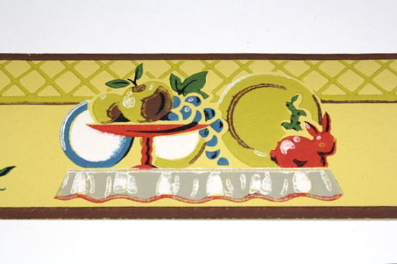 Full Vintage Wallpaper Border   TRIMZ   Kitchen Border with Dishes and 570x380