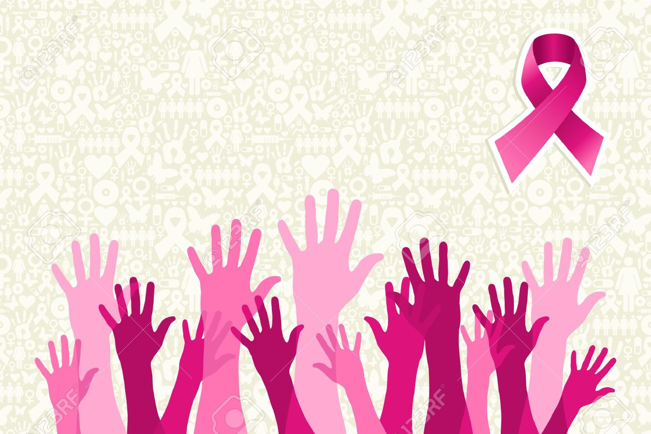 Breast Cancer Awareness Hand People Campaign Over Icon Set 1300x866