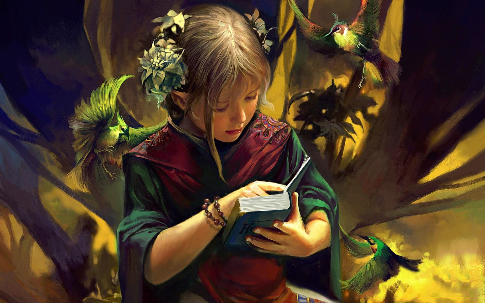1920x1200 Fantasy girl   Reading desktop PC and Mac wallpaper 1920x1200