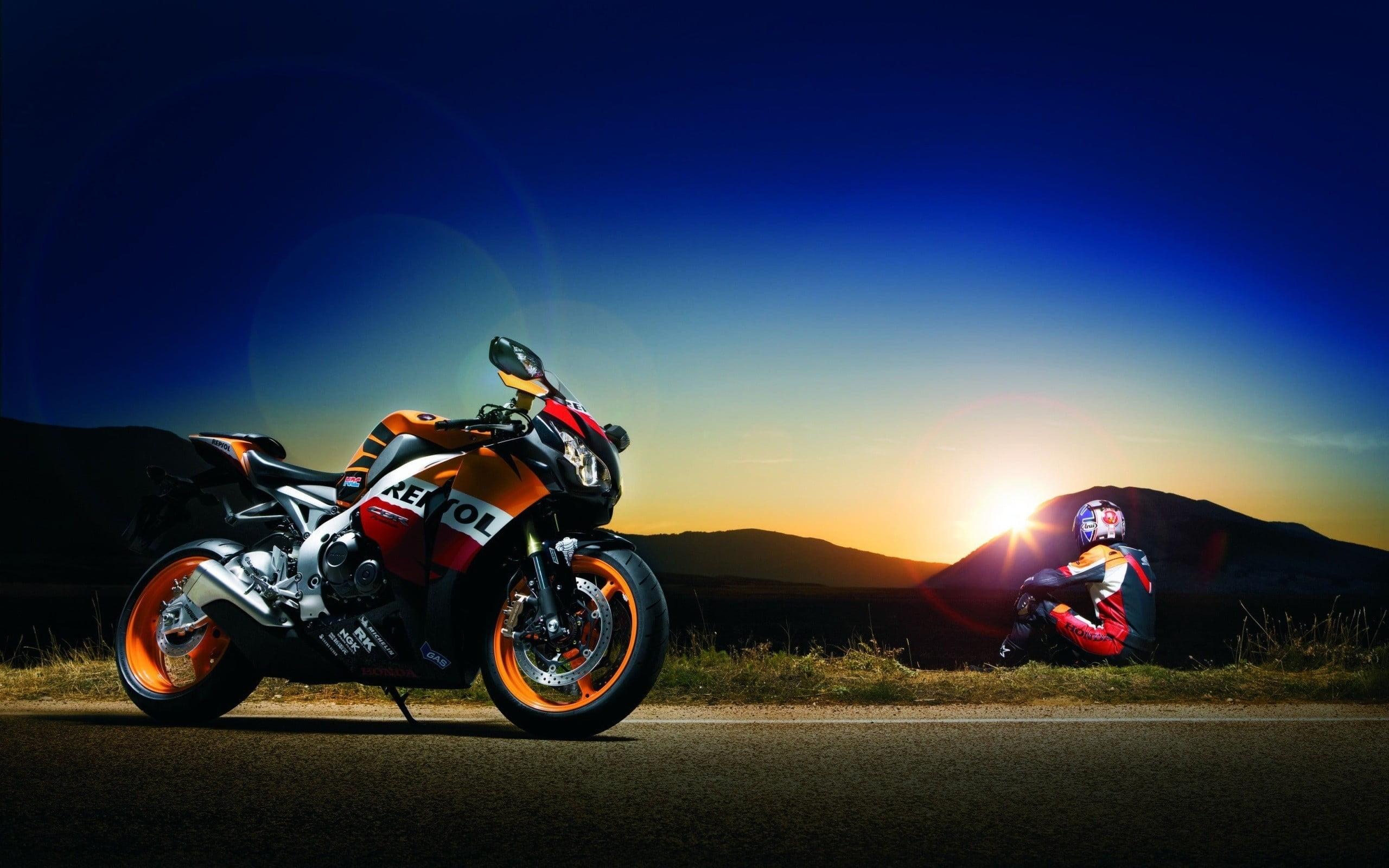 Orange and white Repsol sports bike motorcycle motors sunset 2560x1600