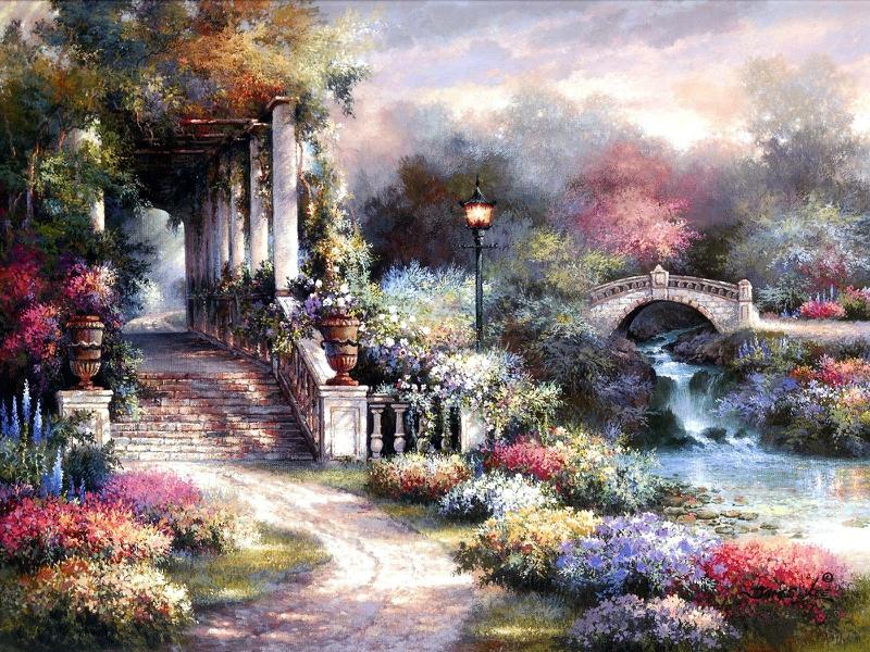 art bridge Garden Retreat Abstract Fantasy HD Desktop Wallpaper 800x600