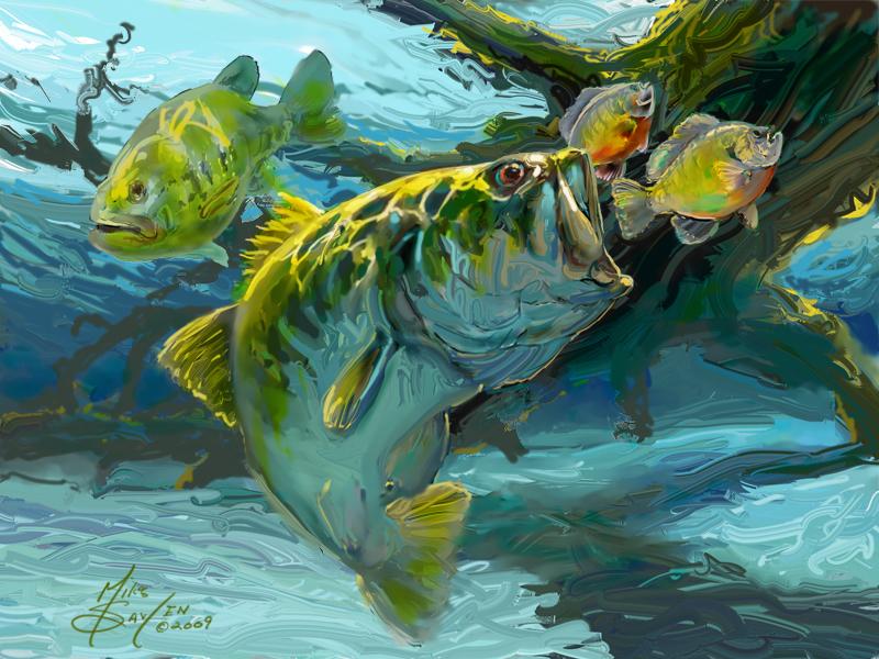 Largemouth bass fishing wallpaper wallpapersafari for Bass fishing art