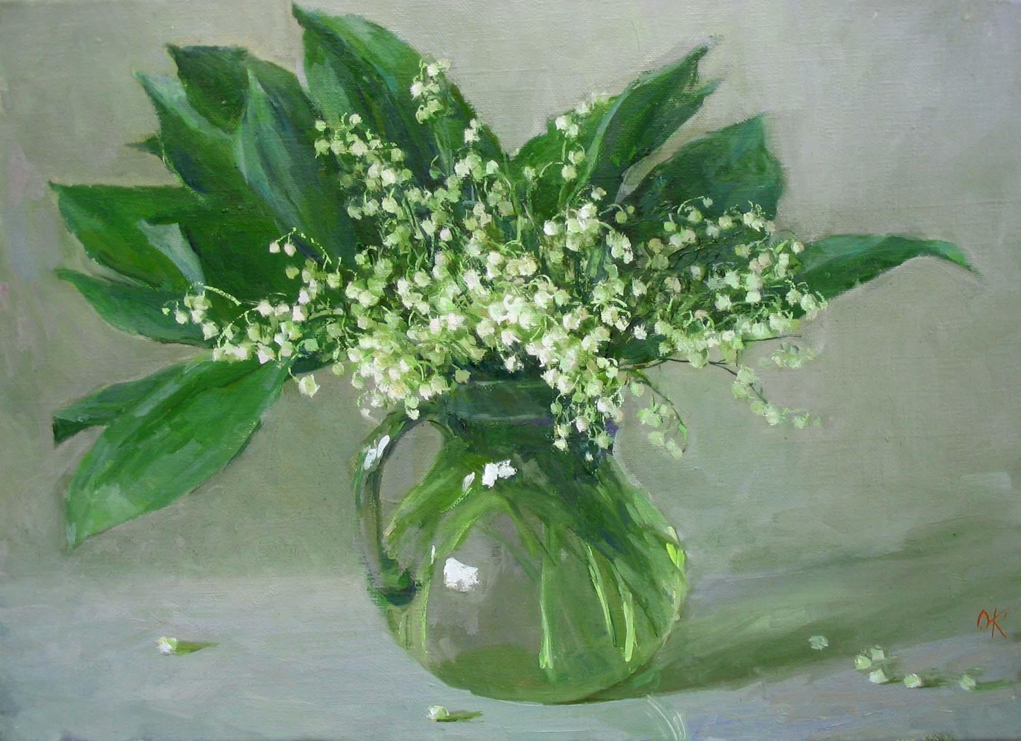 Wallpaper lily of the valley, vase, water, flower, painting wallpapers ...