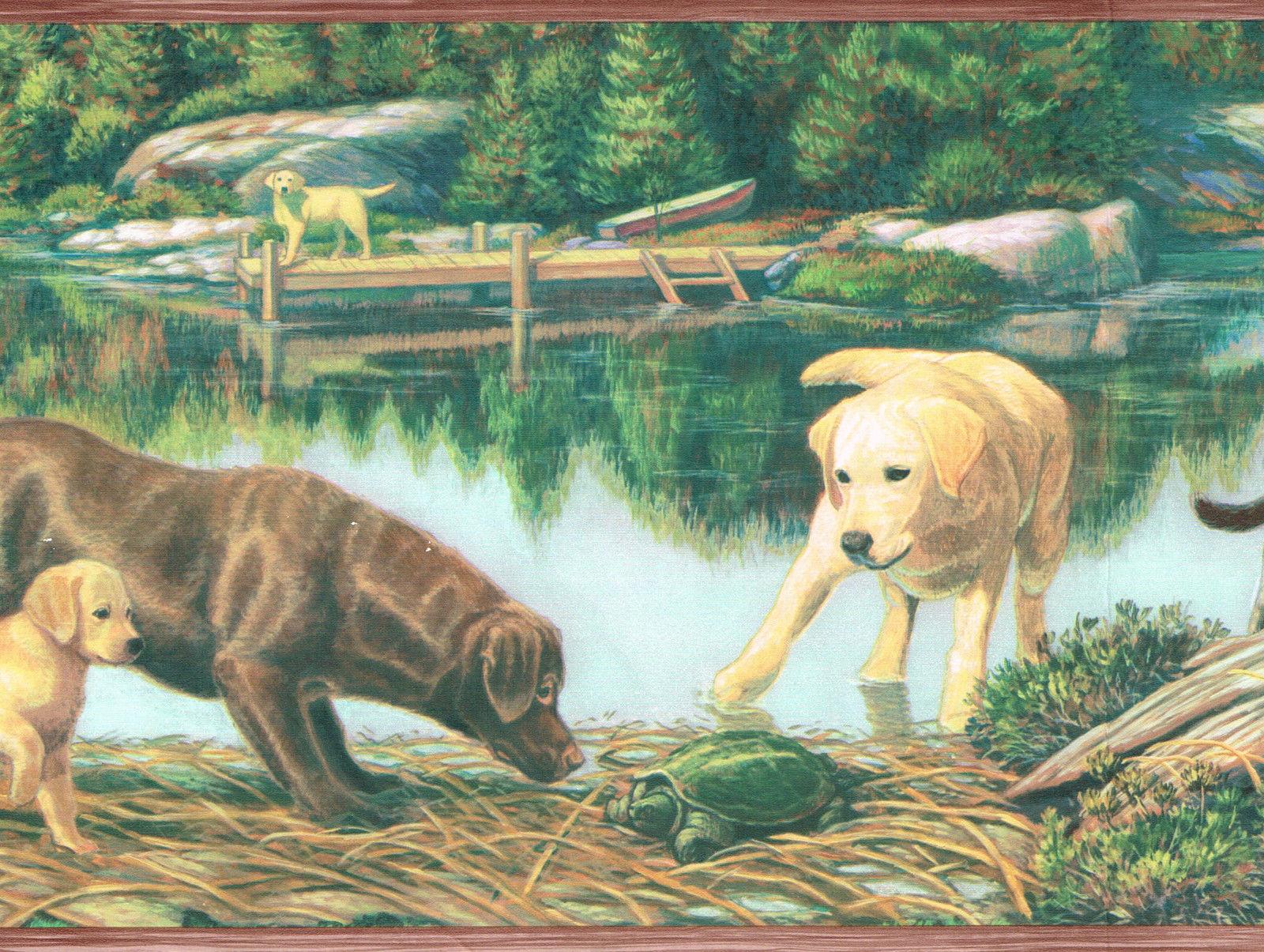 LABRADOR DOG PUPPY STOCKING TURTLE CABIN ON LAKE Wallpaper bordeR 1600x1205