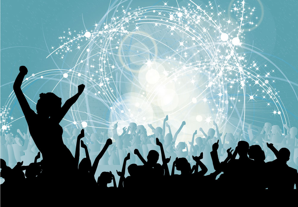 Crowd At Music Concert With Blue Star Background Wall Mural ohpopsi 1000x694