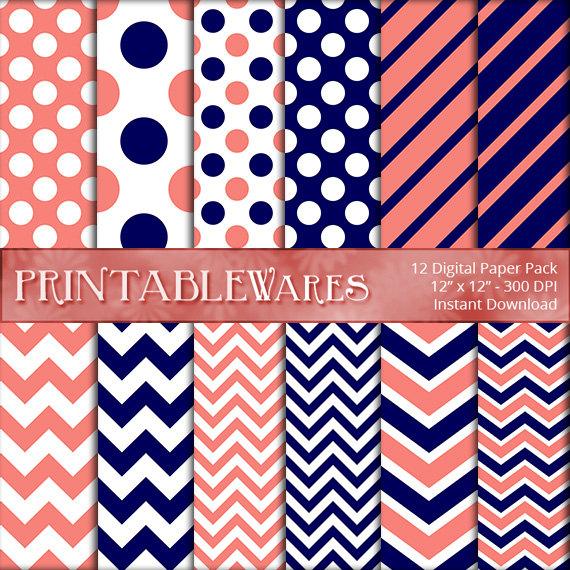 Navy and Coral Digital Paper Pack   Chevron Polka Dot Stripes 570x570