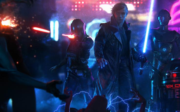 Luke Skywalker Star Wars Cyberpunk Lightsaber Ultrawide Wallpapers 736x459
