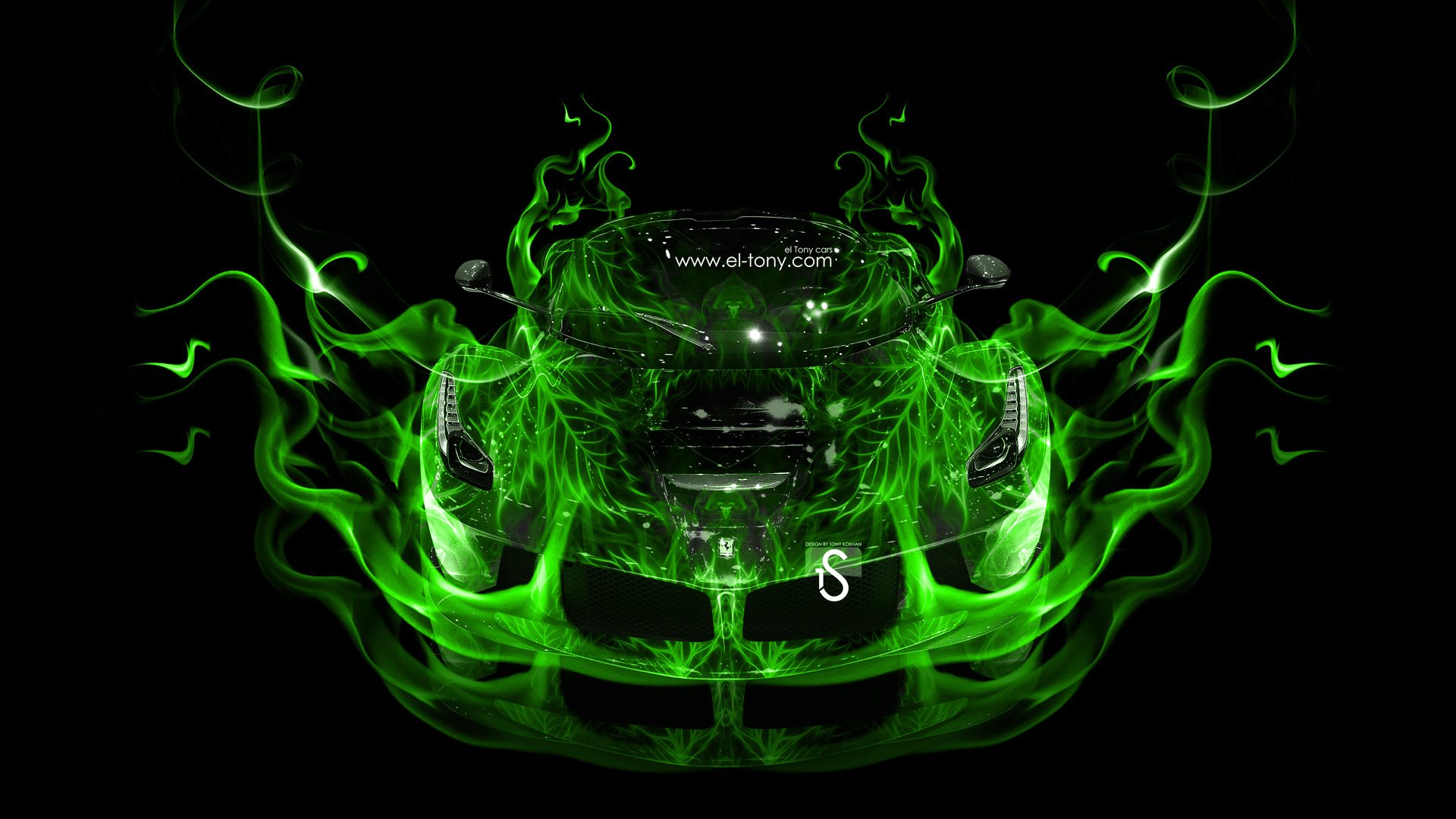 Ferrari Laferrari Green Fire Abstract Car 2013 HD Wallpapers by Tony 1920x1080