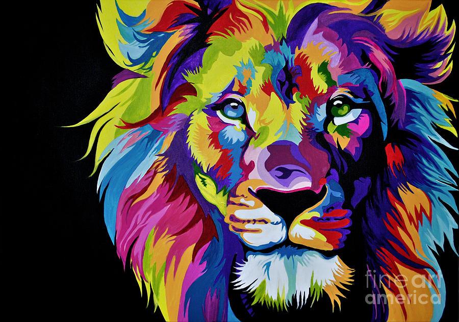 Colorful Lion Painting by Maja Sokolowska 900x631