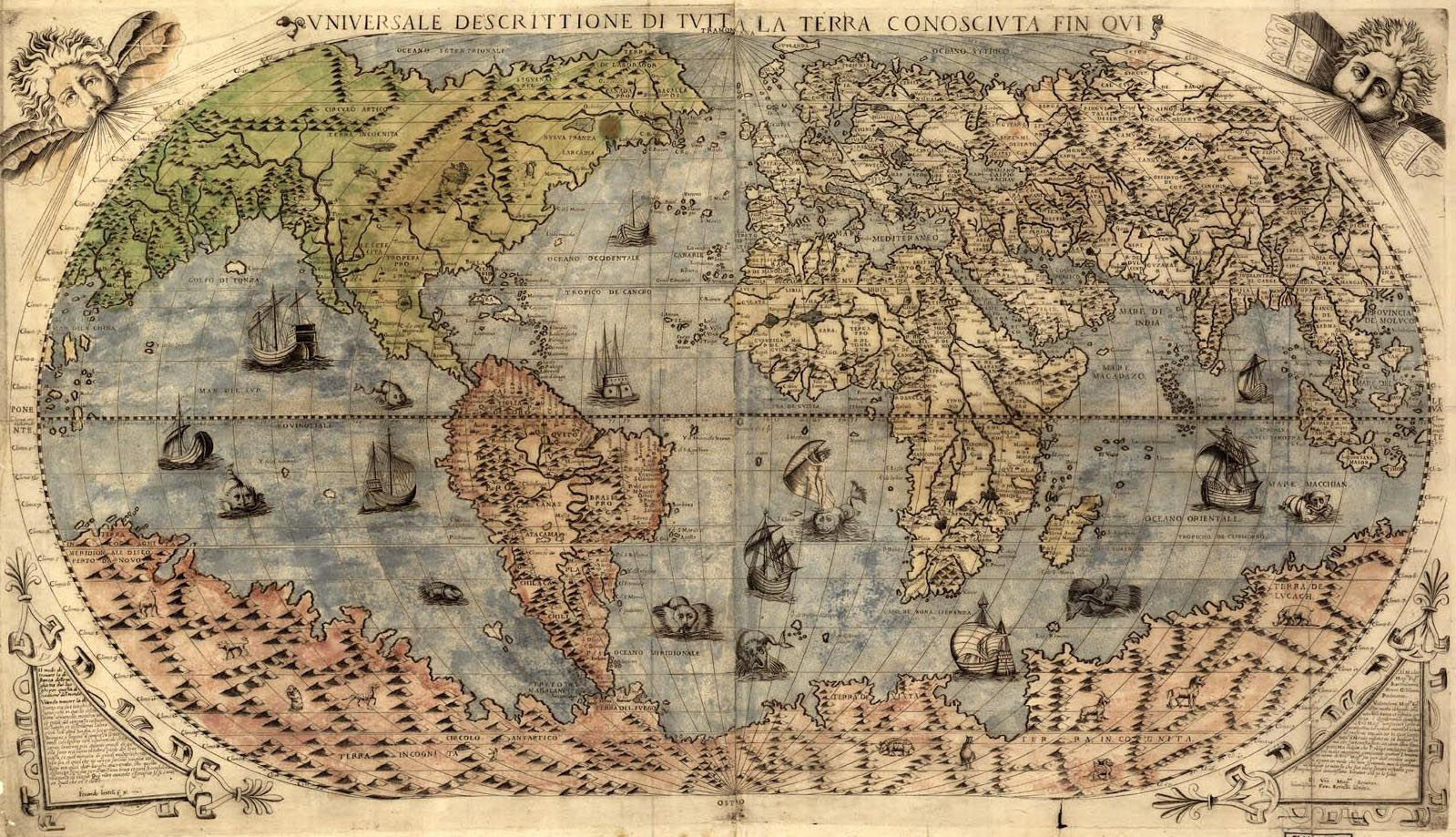 Old Map of the World from the 1500s 1599x919