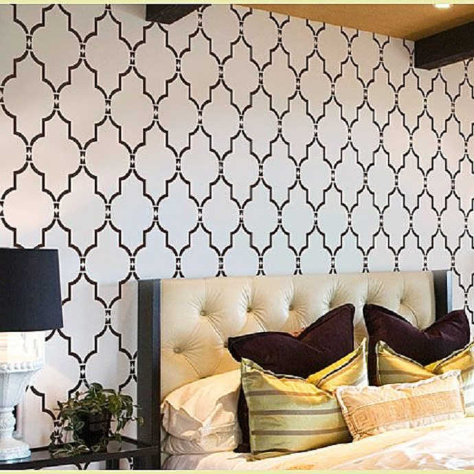 Moroccan Wall Decals Stencils Motive White Wall Ivory Bed Frame Black 690x690