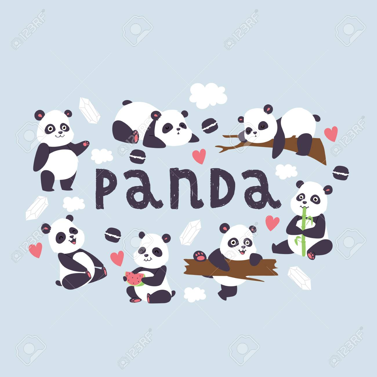 Panda Vector Bearcat Chinese Bear With Bamboo In Love Playing 1300x1300
