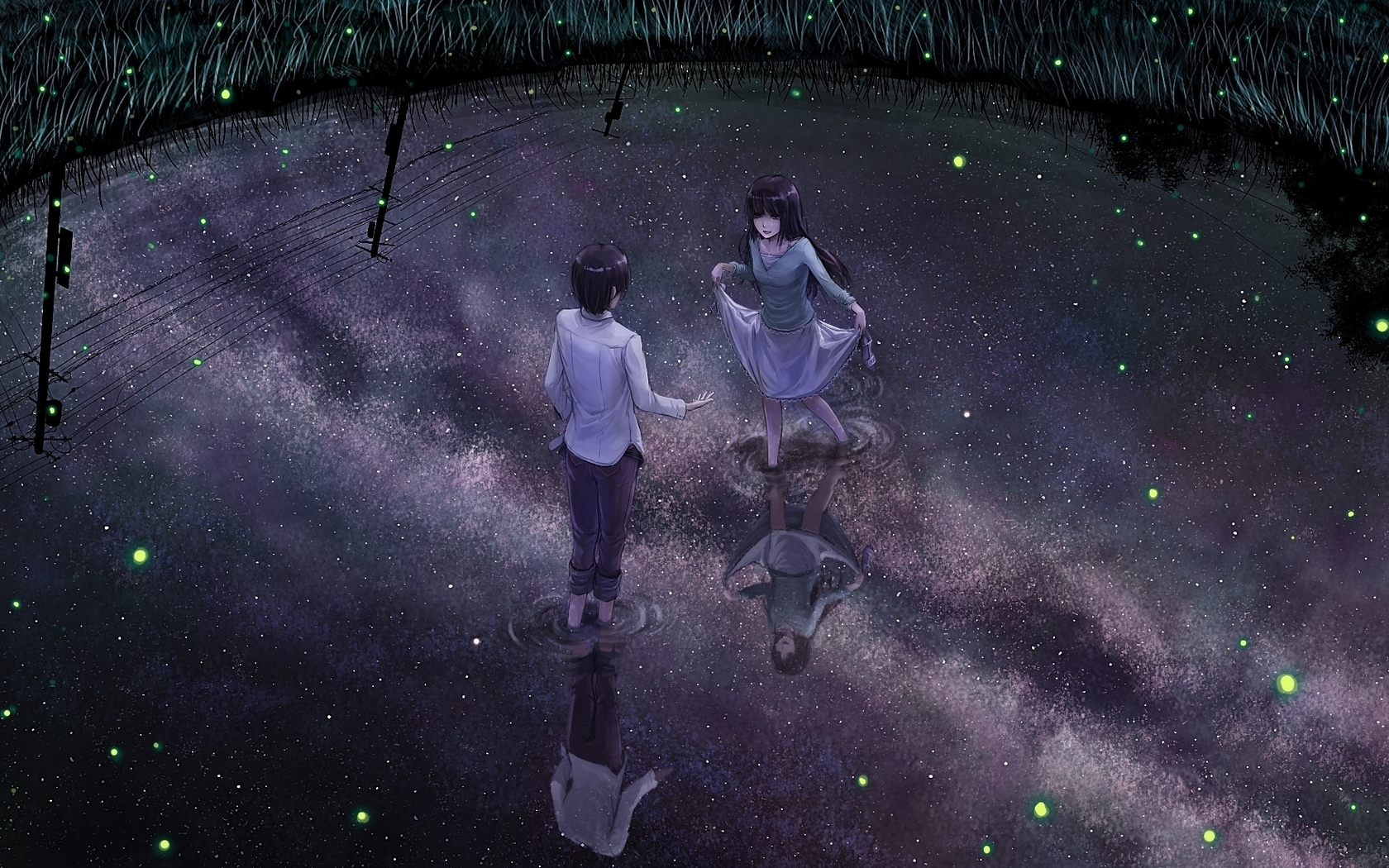Anime Guy Wallpaper Girl Lake Water Night Widescreen Pictures 1680x1050