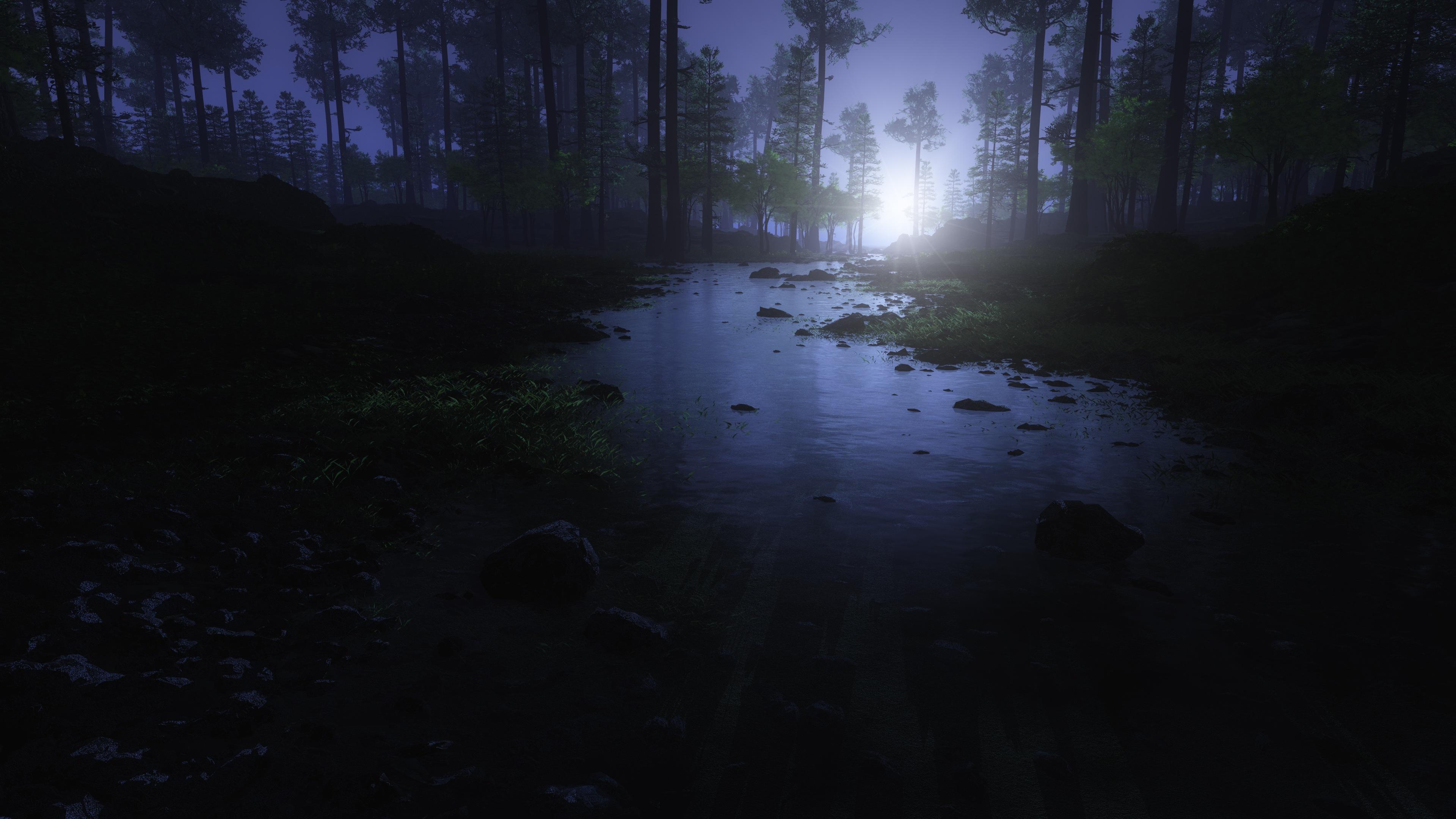 Eerie Moon Shining Forest River 4K Ultra HD Desktop Wallpaper 3840x2160