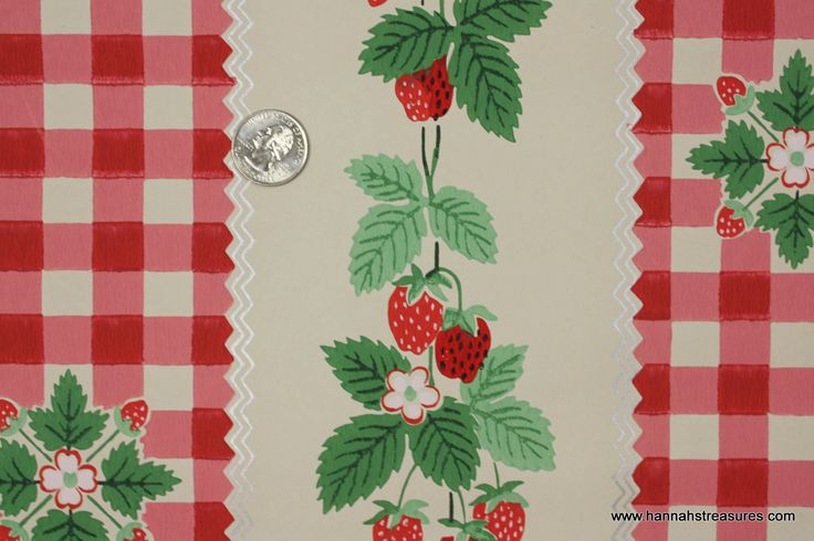 1940s Vintage Wallpaper strawberry and gingham check 736x490