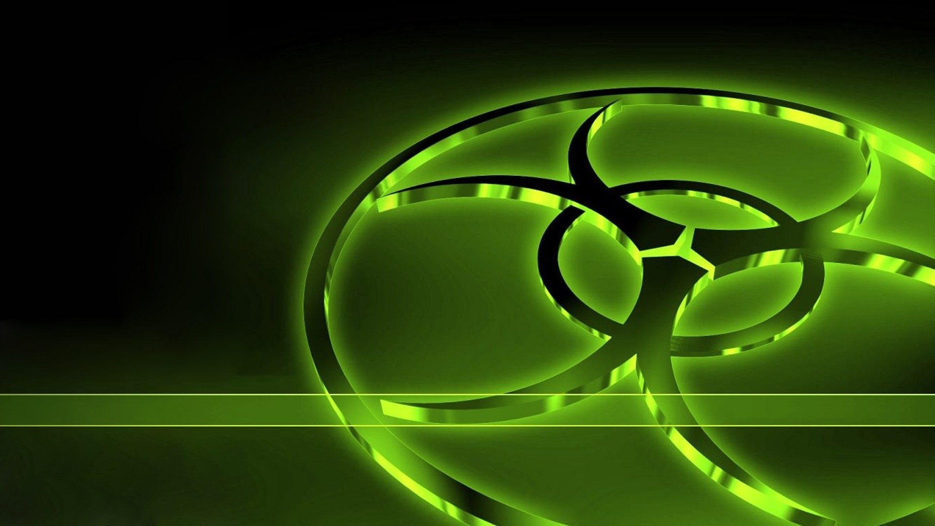 green biohazard black background neon 3d graphics 1920x1080 wallpaper 1920x1080