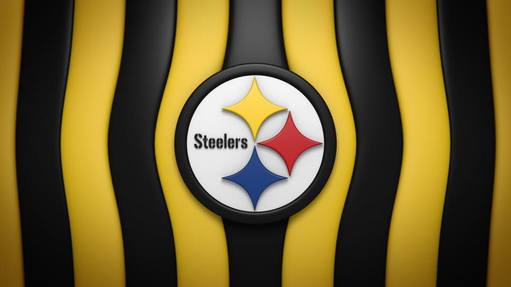 Pittsburgh Steelers 3D Logo Black and Yellow Strip Background 1024x576