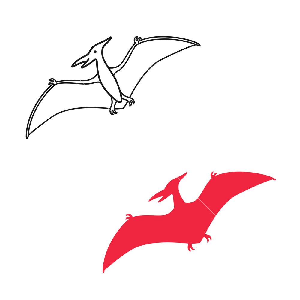Pterodactyl vector silhouette and contour Pteranodon dinosaur 1000x1000